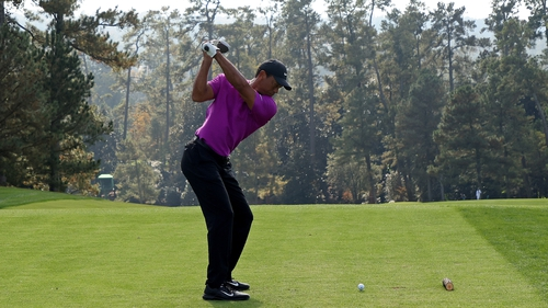 Tiger Woods tees off on the 10th hole during Roiund 3.
