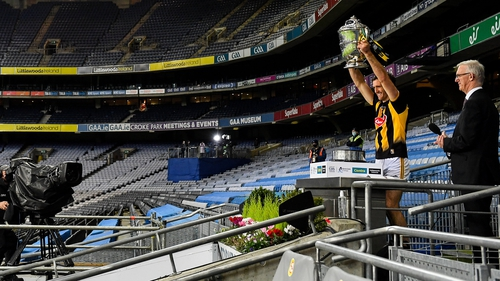 Kilkenny captain Colin Fennelly lifts the Bob O'Keeffe Cup at Croke Park