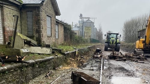 Defunct railway station at Mogeely in Co Cork where site clearance and track lifting work is nearly complete
