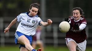 Galway's Leanne Coen gets the block in as Cora Courtney takes aim