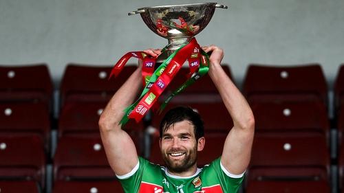 Aidan O'Shea lifts the Nestor Cup