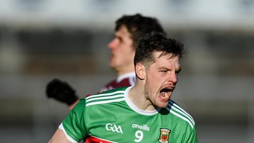 Matthew Ruane celebrates a Mayo point at Pearse Stadium