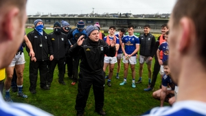 Mickey Graham speaks to his players following their single score win over Down
