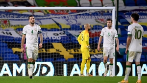 Irish players dejected after Wales took the lead