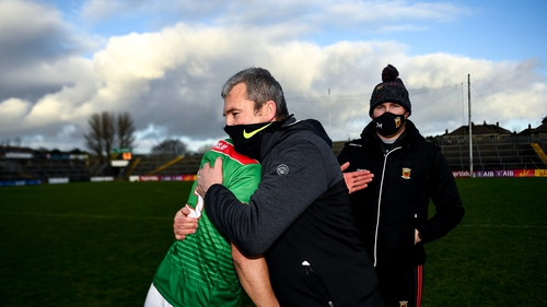 Mayo manager James Horan celebrates wtih Tommy Conroy following the win over Galway