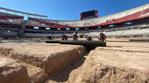 The existing Club Atlético pitch is being replaced by a SISGrass hybrid grass system