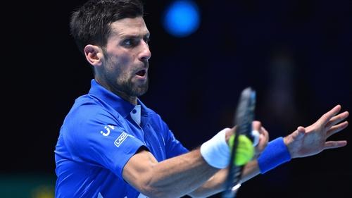 Novak Djokovic fires a forehand at the O2