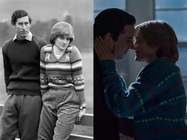(L) Charles and Diana pictured before their wedding in 1981 and (R) in the early days of their relationship on The Crown (Netflix/PA)
