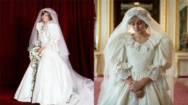 Diana's wedding dress and its on-screen replica (Netflix/PA)