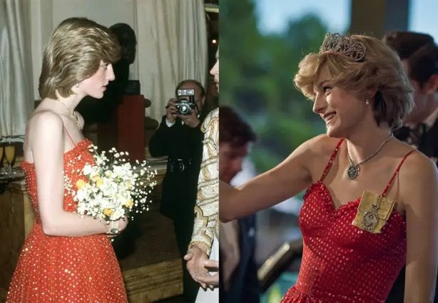 Diana's red polka dot dress both IRL and on-screen (Netflix/PA)