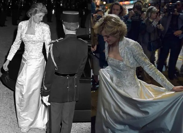 (L) Princess Diana at the Elysee Palace in 1988 and (R) wearing a copy of the dress in The Crown (Ron Bell/Netflix/PA)