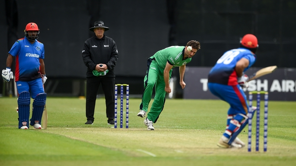 Tim Murtagh bowls during the GS Holdings ODI Challenge between Ireland and Afghanistan in 2019