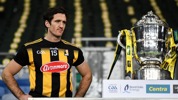 Colin Fennelly waits to lift the the Bob O'Keeffe Cup after the Leinster final