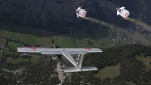 Vince Reffet and Fred Fugen fly into a plane in mid-air after jumping off a mountain in Switzerland in 2017