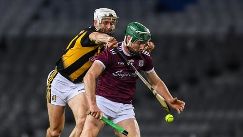 Cathal Mannion battles with Conor Fogarty of Kilkenny