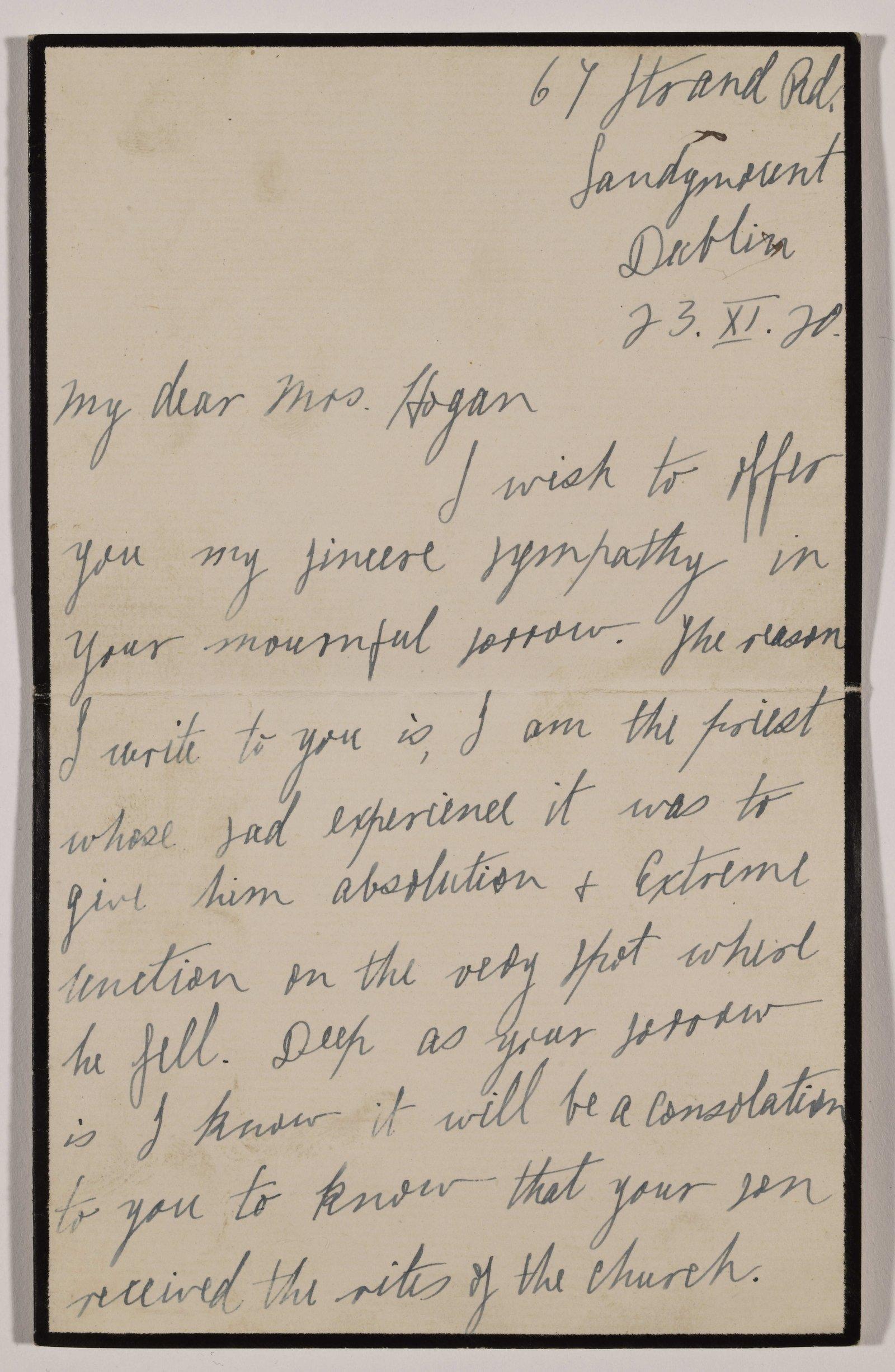 Image - Fr. Edward (Ned) O'Brien's letter to Mrs Hogan