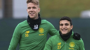 Celtics Kristoffer Ajer (L) and Mohamed Elyounoussi