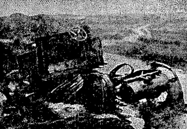 One of the burnt out motor vehicles belonging to the Auxiliaries wrecked during the ambush. Photo: Irish Independent, 4 December 1920