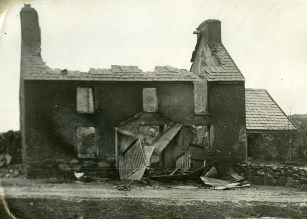 House smashed by Auxiliaries in reprisal for the Kilmichael ambush Photo: UCD Digital library