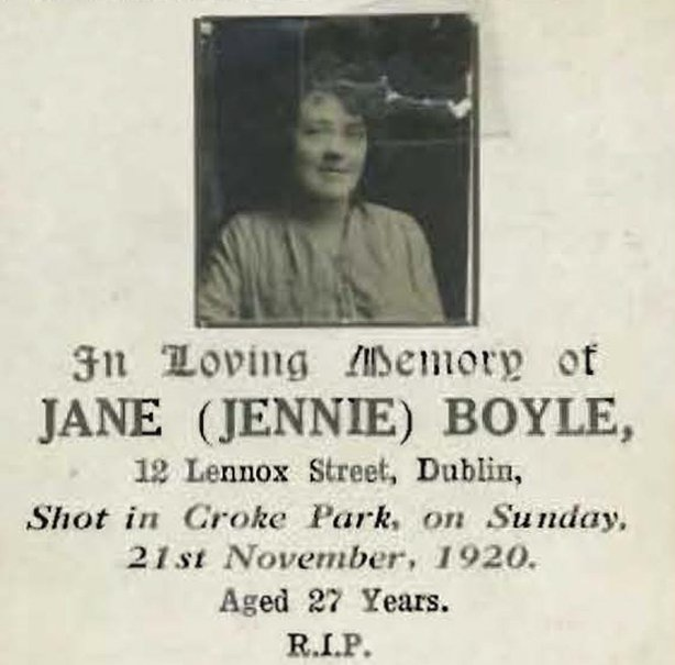 Mass card for Jennie Boyle, one of the victims of the Croke Park shootings Photo: GAA Museum and Archive