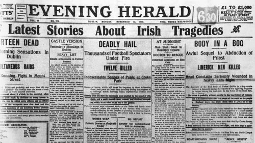 The front page of the Evening Herald on November 22nd 1920 with coverage of the Bloody Sunday events in Dublin. Photo: Hulton Archive/Getty Images