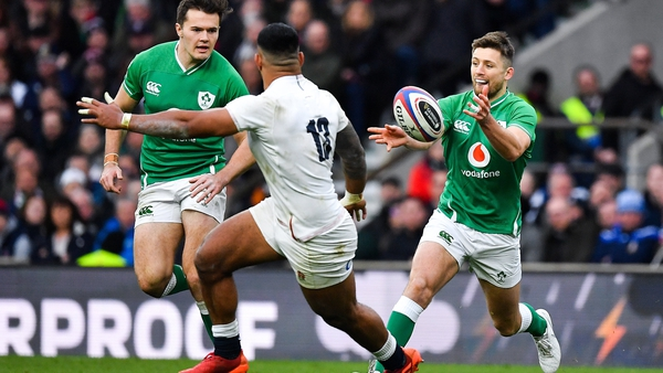 Ross Byrne (r) returns to the Ireland side in place of injured Johnny Sexton