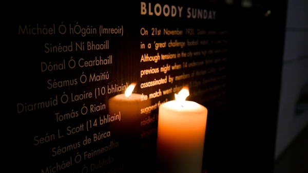 The names of the victims are lit by candlelight at the Bloody Sunday memorial in Croke Park on 16 November