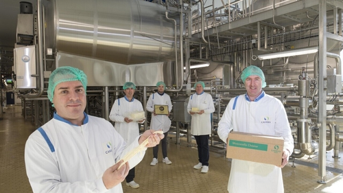 Jason Hawkins, CEO at Carbery Group with Chairman TJ Sullivan, CFO Colm Leen, COO John Holland and Cheddar Cheese Manager Conor O'Donovan at its new facility in Ballineen