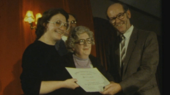 Roz Cowman accepting the Patrick Kavanagh Poetry Award (1985)