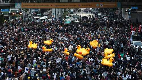 Footage of Thailand's so-called 'rubber duck revolution' has gone viral on social media this week