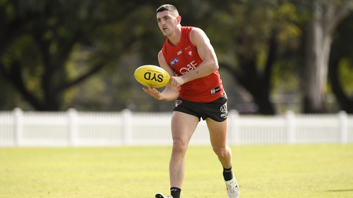 Colin O'Riordan during a training session with the Sydney Swans