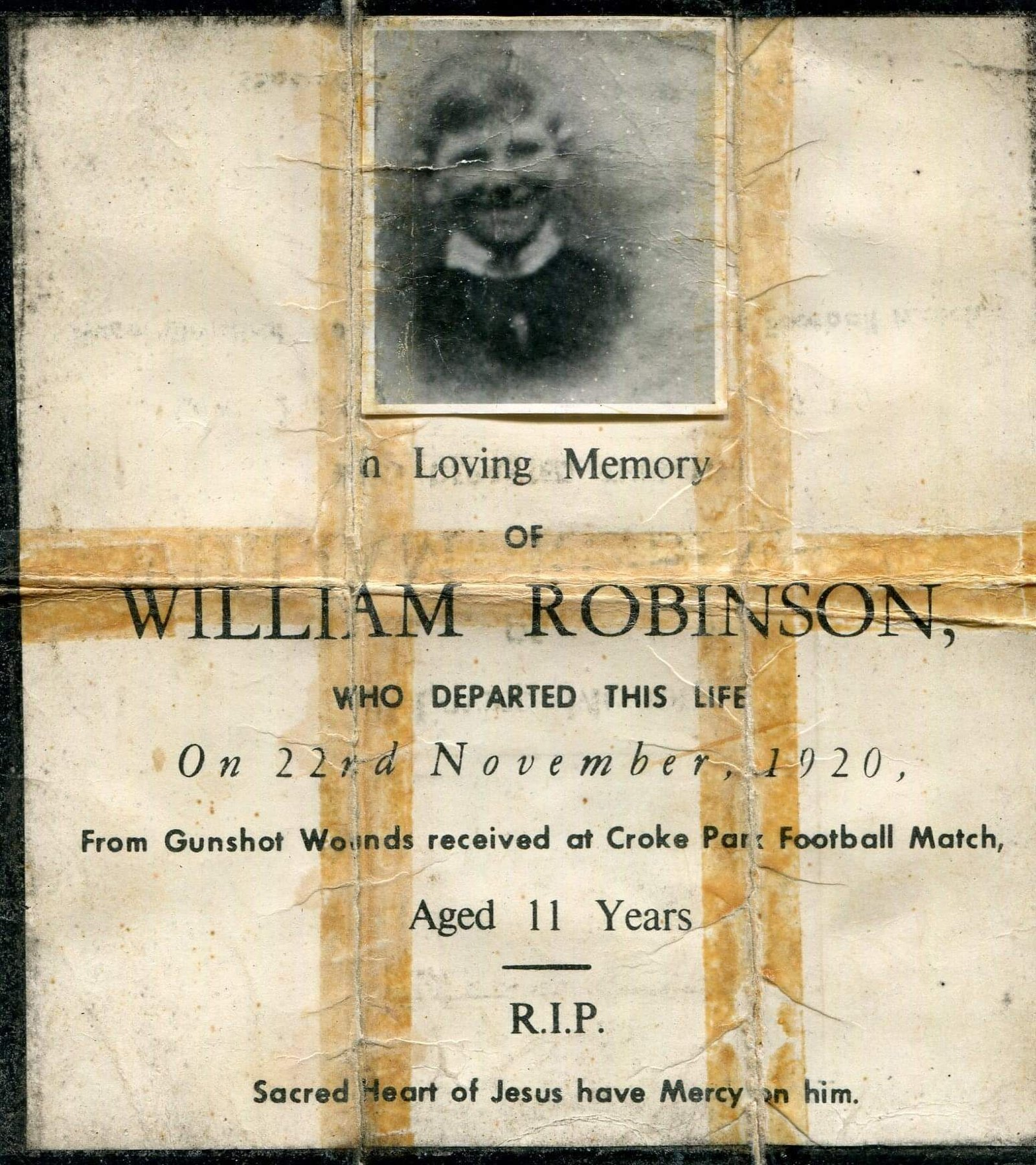 Image - William Robinson memorial card. The date of death is wrong on the card. William died on 23 November (Credit: Karina Leeson).