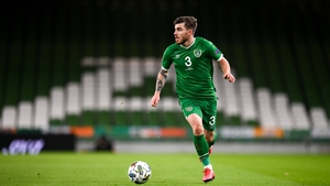 Ryan Manning in action at Lansdowne Road making his Ireland debut
