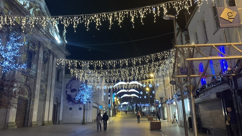 Christmas lights illuminate Barronstrand Street in Waterford city