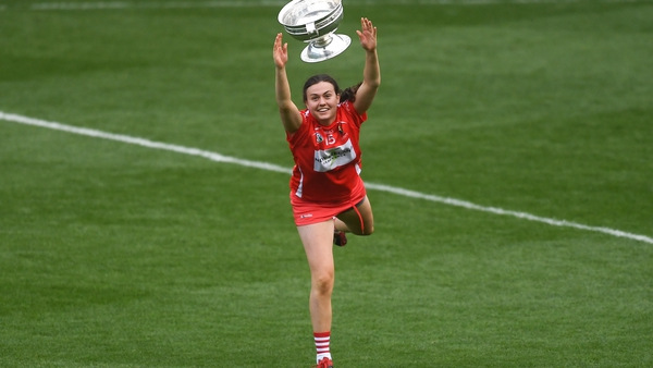Hannah Looney with the O'Duffy Cup after Cork's 28th title win in 2018