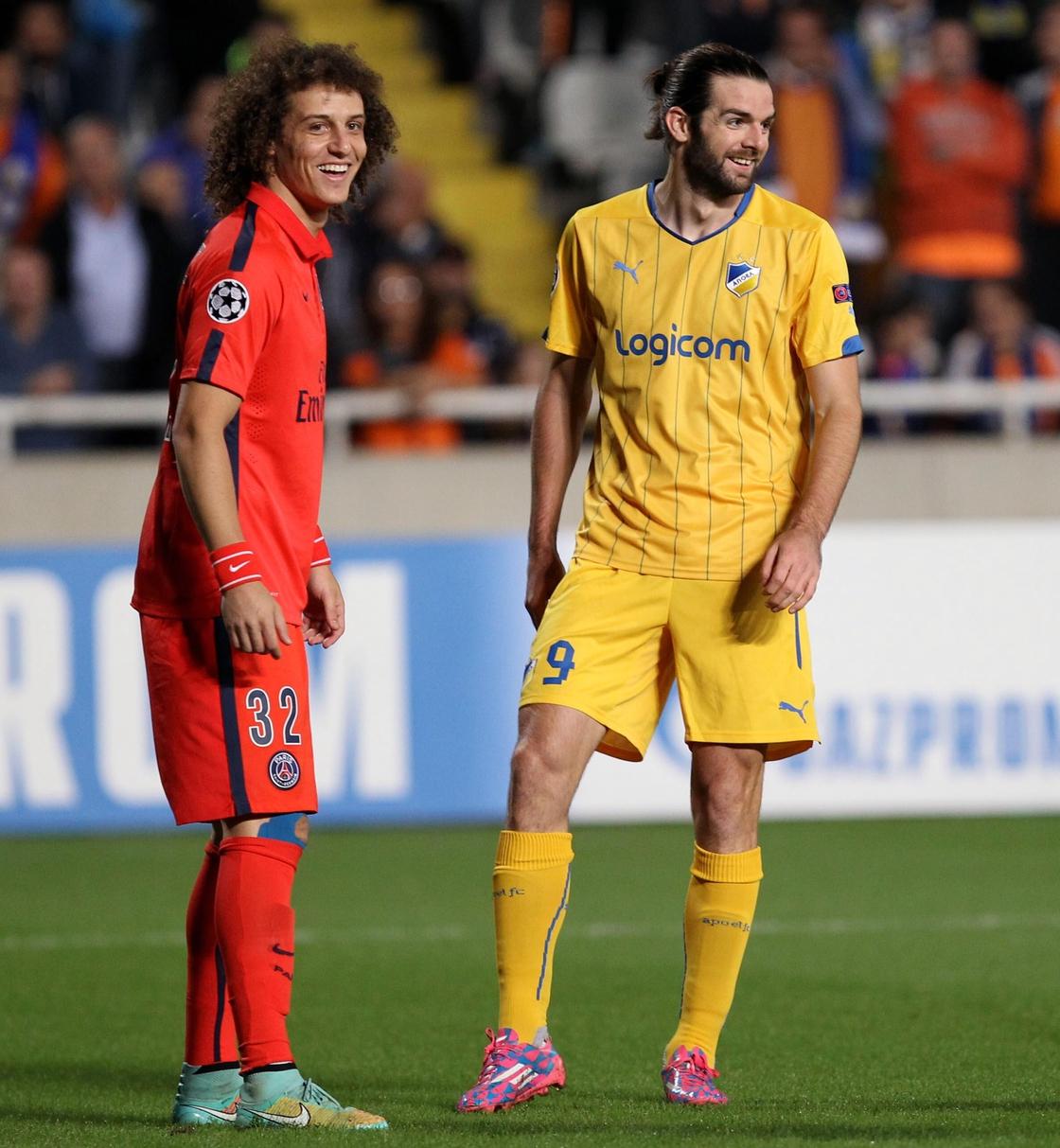 Image - David Luiz (L) marking Sheridan when APOEL faced PSG
