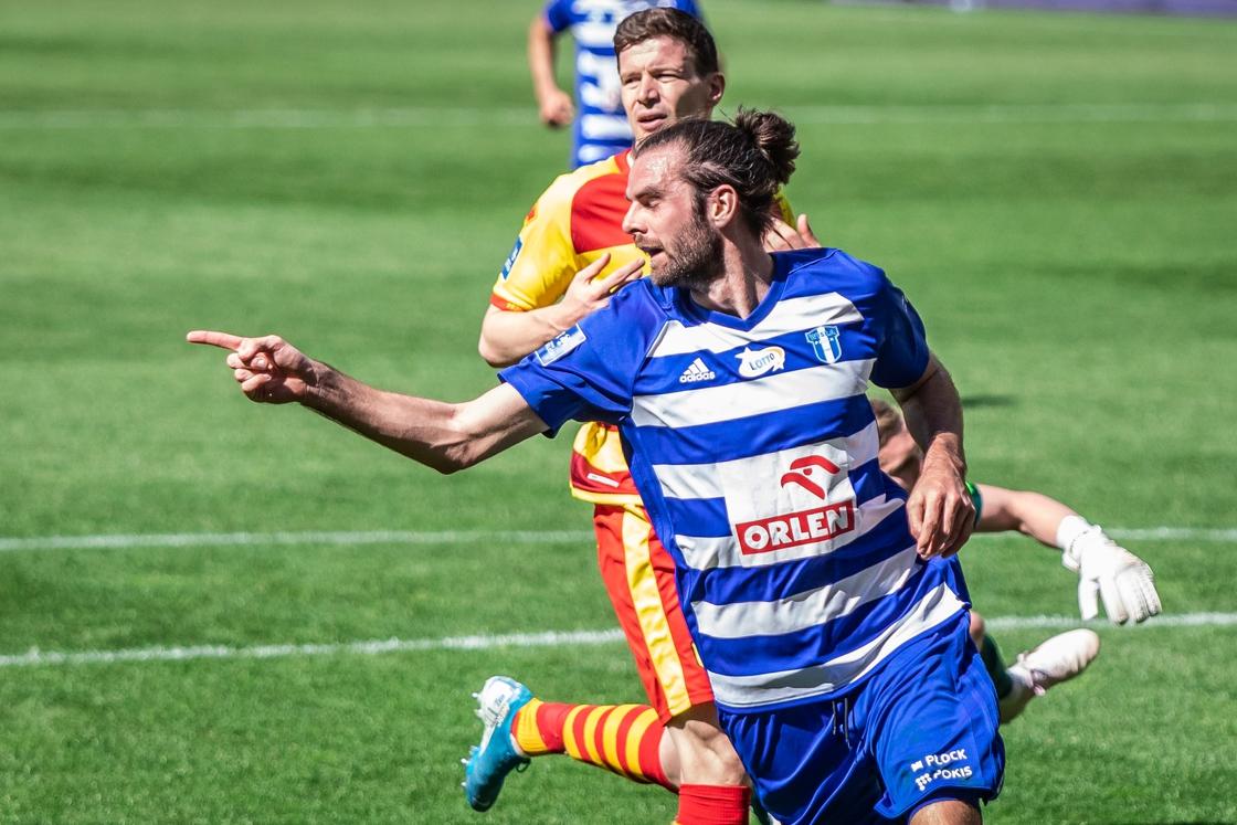 Image - Sheridan celebrates a goal for Wisla Plock during the Polish PKO Ekstraklasa match against former club Jagiellonia Bialystok in June