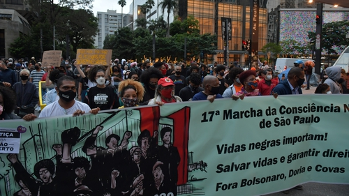 People demonstrate against racism on Black Consciousness Day in Sao Paulo, Brazil