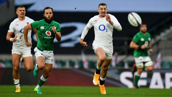 Jonny May of England makes chase against Jamison Gibson-Park