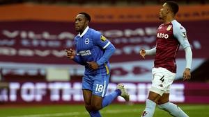 Welbeck celebrates his goal at Villa Park