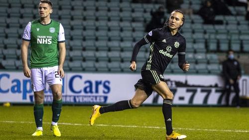 Celtic's Diego Laxalt celebrates after making it 2-2