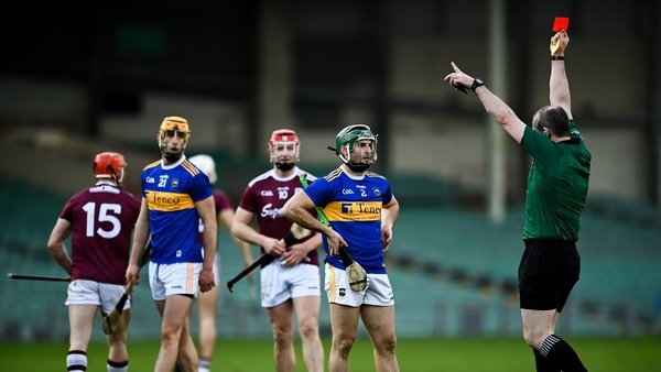 Tipperary were leading Galway by two points when Cathal Barrett was dismissed in the 53rd minute