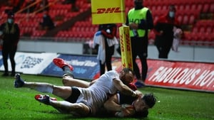 Louis Rees-Zammit scores Wales' first try as Otar Giorgadze and Vasil Lobzhanidze attempt to tackle