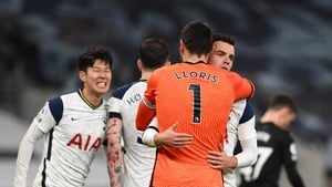 Hugo Lloris and Giovani Lo Celso celebrate at the final whistle
