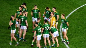 Meath players huddle together ahead of the Dublin clash
