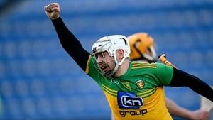 Davin Flynn celebrates scoring Donegal's second goal