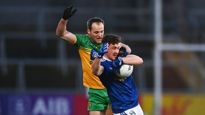 Ciaran Brady of Cavan in action against Michael Murphy of Donegal