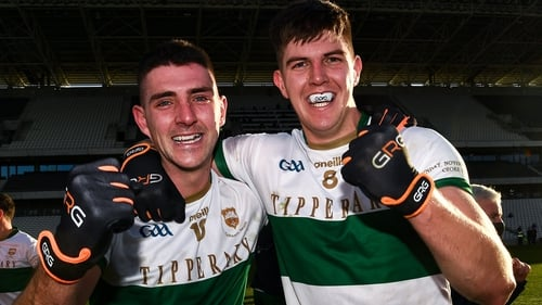 Colin O'Riordan (left) and Steven O'Brien celebrate Tipperary's first Munster SFC title since 1935