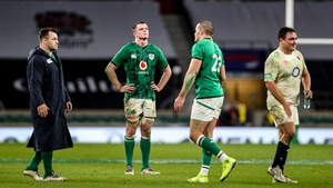 Cian Healy, left, James Ryan and Jacob Stockdale react after the 18-7 defeat to England at Twickenham
