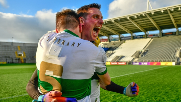 Bill Maher (5) and captain Conor Sweeney celebrate their famous victory over Cork